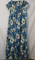 Hilo Hatties XL Hawaiian Vtg Dress Spaghetti Straps Elastic Waist long tropical