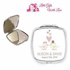 Personalised Mr & Mrs Love Birds Compact Mirror Bride Wedding Day Keepsake Gift