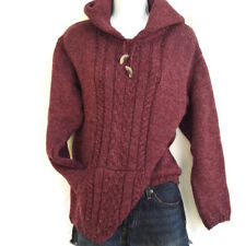 Aran Sweater Cable Knit Irish Merino Wool Native Fisherman Machine Wash Red S