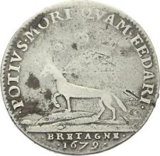 O3716 RARISSIME R3 Jeton Louis XIV Bretagne Hermine 1679 Argent 4800 Minted