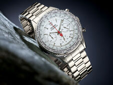 DETOMASO FIRENZE WHITE CHRONOGRAPH GENTS WATCH STAINLESS STEEL 10ATM NEW (35)