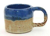 Handmade Studio Art Pottery Cup Mug Blue Tan Rope Handle Signed C C EUC