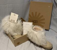 UGG authentic Mongolian Sheepskin Lida boots TAN SUEDE ivory fur short SIZE 6