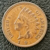 RARE 1890 Indian Head Penny Cent 1c AU XF Full Liberty Weak Strike Die Errors