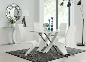 MAYFAIR White High Gloss Chrome Dining Table Set & 4 Faux Leather Chairs Seater