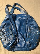 HYPE Solid Blue Leather Silver Studded Large Handbag Purse Magnetic Close