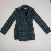 JouJou Women's Blue Wool Blend Belted Peacoat Business Jacket Coat Ladies Small
