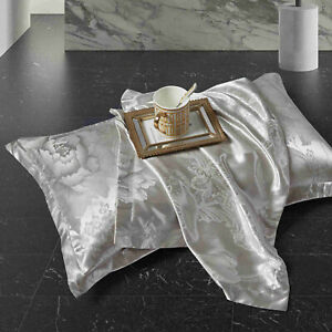 2 x Silk Satin Jacquard Pillow Case Cover Smooth Soft Protector Single Side