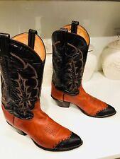 TONY LAMA Wingtip Exotic Cowboy Boots Women's Size 10.5D Authentic Western Boots