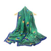 "Women Scarf Shawl Wrap Peacock Print Stole Silk Soft Fashion USA 70"" x 35"""