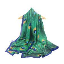 Women Scarf Shawl Wrap Peacock Print Stole Silk Soft Fashion USA 70