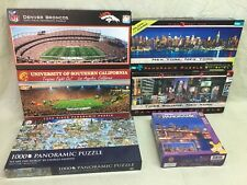 6 PANORAMIC 1000 750 Piece Puzzles GLOW in The Dark NEW YORK NFL BRONCOS USC LOT
