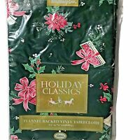 """Holiday Classic Holly Berry & Ribbon Flannel Backed Green Tablecloth 52"""" X 70"""""""