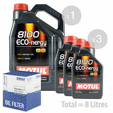 Engine Oil and Filter Service Kit 8 LITRES Motul 8100 Eco-nergy 5W-30 8L
