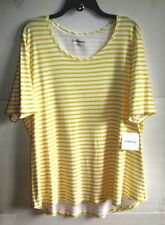 CROFT&BARROW 3X YELLOW/White STRIPE SCOOP-NECK KNIT PULLOVER TOP Cotton S/S NWT
