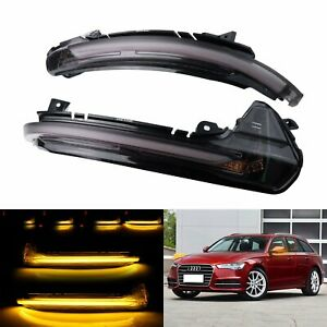 Pair For Audi A6 C7 S6 RS6 Dynamic LED Wing Mirror Indicator Signal Side Lights