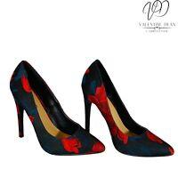 JustFab Veronica Floral Women's Shoes Black Suedette Pumps Size 3.5 Uk Small Fit