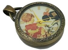 Pretty Vintage Brozen Ladies Quartz Pendant Pocket Watch 'Milk for The Cat'