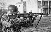 WWII B&W Photo German Soldier with StG 44  Sturmgewehr 44 WW2 World War / 2159
