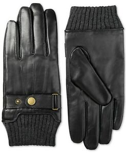 Isotoner Men's Touchscreen Leather Snap-Cuff Driving Gloves -Black- Medium