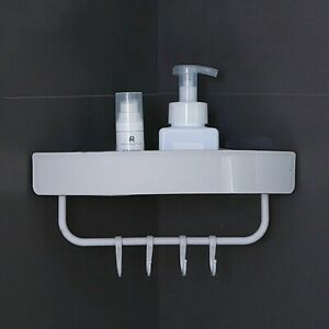 Bathroom Triangular Shower Shelf Corner Bath Storage Holder Organizer Rack Hooks