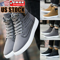 Men's Oxfords Casual High Top Shoes Lace Up Leather Canvas Sneakers Sports Shoes