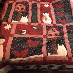 Handmade Christmas Quilt Snowmen Christmas Tree Stars