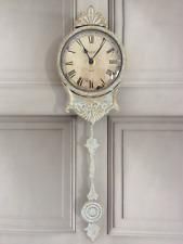 Shabby Chic Pendulum Wall Clock Antique Vintage Style Cream Grey Ornate Home
