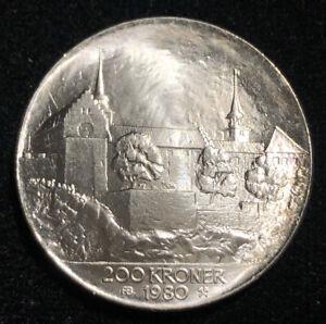 Norway 1980 200 Kroner Silver Coin GEM BU