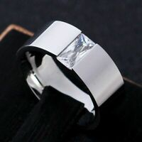 Men Women's 8mm Smooth Single CZ Band 316L Stainless Steel Ring Size 6-12