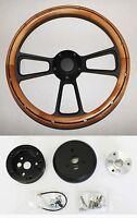 "Nova Chevelle El Camino Impala Steering Wheel Alder Wood Black Spokes 14"""
