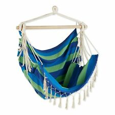 Blue Lagoon Canvas Hanging Hammock Chair With Fringe Trim