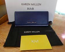 NewWT Karen Millen Blue Textured Leather Saffiano Fold Over Purse Wallet