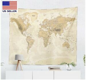 Brown World Map Tapestry America Europe Africa Psychedelic Wall Decor 51x59in