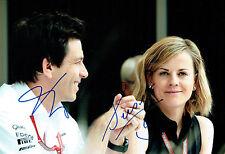 Susie & Toto WOLFF Double Signed Autograph Portrait Formula 1 Photo AFTAL COA