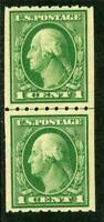 USA 1912 🔥 Washington 1¢ Coil Line Pair Perf 8½ SL Wmk Scott 410 MNH  🔥 I936