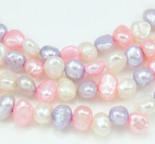 5-6mm White Pink Lavender Mixed Colour Baroque Nugget  Freshwater Pearls Beads