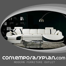 Ultra Contemporary Top Grain White/Black Leather Sectional Sofa w Curved Chaise