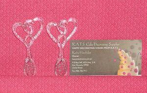 Heart,Double,Pick/Mini Spoon,Clear/Silver Glitter,Cupcake Picks,Wedding,DecoPac.