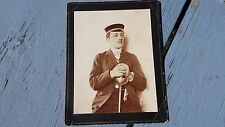 Antique Military Man Holding A Sword Photo On Cardboard Card 1800's