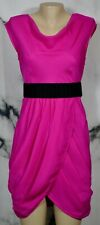 FROCK BY TRACY REESE Hot Pink Oval Textured Dress 6 Draped Neckline and Skirt