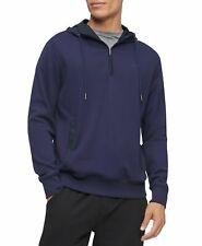 Calvin Klein Mens Hoodie Blue Size 2XL Blocked Quarter Zip Pullover $98 #016