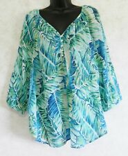 Ladies Chaps Denim Pull Over Blouse Palm Leaves Design Blue Green Size XL