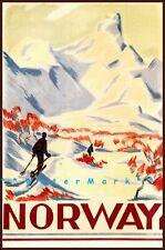 SKI Norway 1930 Scandinavia Vintage Poster Print Retro Style Winter Skiing Art
