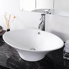 Oval Art Bathroom Hotel Spa Porcelain Vessel Sink Ceramic Basin Drain Overflow