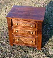 Walnut Victorian Antique Child's Dresser Nightstand End Table Chest of Drawer