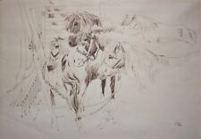 GERARD VICTOR ALPHONS ROLING-Dutch-Original Signed Ink Drawing-Horse Stable