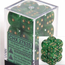Chessex Dice d6 Set 16mm Vortex Green w/ Gold 6 Sided Die 12 Sets CHX 27635