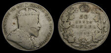 Canada 1910 Silver 50 Fifty Cent Piece King Edward VII VG-10