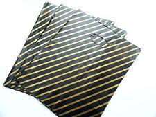 "50 BLACK & GOLD PLASTIC Carrier Bags 9 ""X 11"""